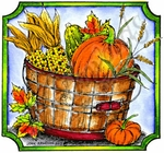 Bucket With Pumpkin And Corn Notched Square MM8708