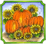 Pumpkins And Sunflowers In Notched Square MM8709