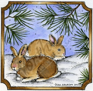 Bunny Pair In Notched Square MM8842