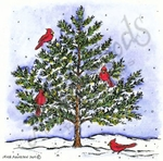 MM8919 Spruce With Four Cardinals