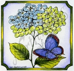 Hydrangea And Butterfly In Notched Square #1 MM8976