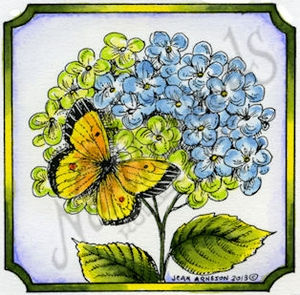 Hydrangea And Butterfly In Notched Square #2 MM8977