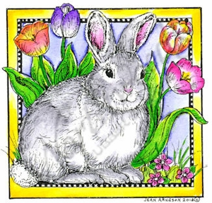 Bunny And Tulips In Dotted Square MM9003