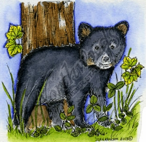 Bear Cub By Tree MM9042