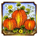 Trio Of Pumpkins In Notched Square MM9188