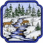 MM9640 Deer At Stream In Curved Frame