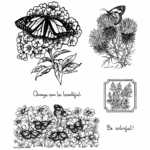 Monarch on Phlox Cling Mounted Stamp Set