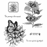 Monarch on Sunflower Cling Mounted Stamp Set