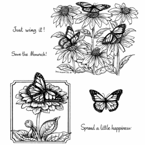 Monarchs & Coneflower Cling Mounted Stamp Set