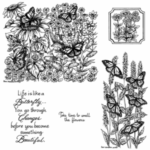 Monarchs in Butterfly Garden Cling Mounted Stamp Set