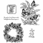 Monarchs On Butterfly Bush Cling Mounted Stamp Set