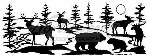 N1738 Silhouette Forest Animal Border