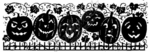 N3732 Solid Pumpkin With Leaves and Fence Border
