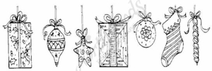 N6813 Present, Ornament and Stocking Border