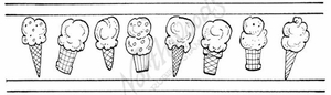 N7497 Ice Cream Cone Border