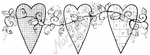N8376 Heart Trio With Roses And Vines
