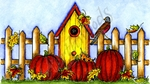 NN10098 Birdhouse, Fence, Leaves And Pumpkins