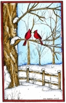NN10159 Snowy Tree And Fence With Cardinal Pair In Rectangle Frame