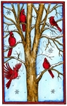 NN10161 Snowy Tree With Cardinals In Rectangle Frame