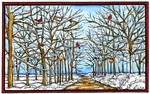 NN10166 Snowy Bare Branched Trees, Lamp Posts And Cardinal In Rectangle Frame
