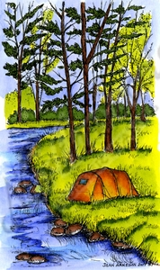 NN10252 Tent and Woods By Stream