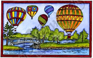 NN10259 Hot Air Balloons And Stream In Rectangle Frame