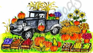 NN10303 Old Fashioned Truck And Fall Harvest