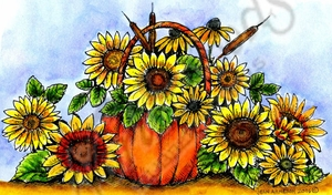 NN10313 Sunflower Bouquet In Pumpkin Basket