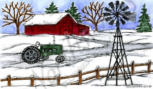 NN10352 Winter Tractor And Windmill