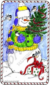 NN10377 Snowman, Tree, Present And Chickadees In Candy Cane Frame