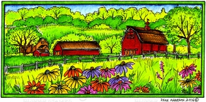O10029 Spring Barn In Rectangle Frame