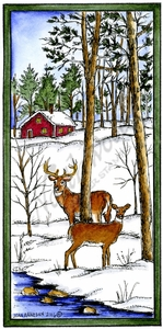 O10135 Deer Pair In Rectangle Frame