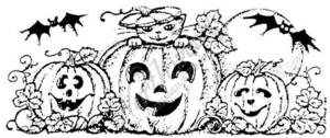 O3733 Kitten and Bats In the Pumpkin Patch