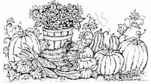 O3777 Sunflower Basket and Pumpkins