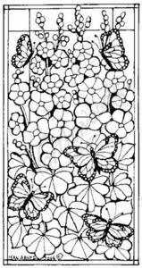 O4593 Stained Glass Hollyhock and Monarch