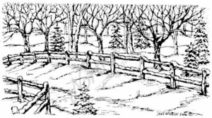 O4842 Fence and Winter Tree Border