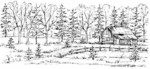 O4845 Log Cabin and Tree Border