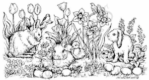 O5043 Bunnies, Duck, Eggs and Flowers