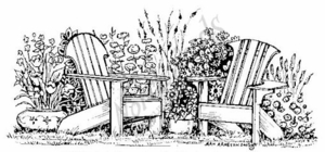O5081 Adirondack Chairs In Garden