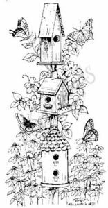 O6920 Birdhouse Tower, Butterflies and Flowers