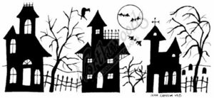 O7004 Solid Haunted House Border