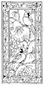 O7167 Stained Glass Cardinals