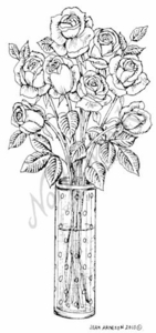 O7349 Roses In Tall Vase