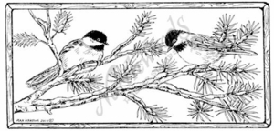 O7679 Chickadees In Pine Frame