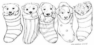 O7720 Puppies In Stockings