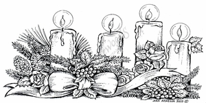 O7727 Candles With Roses and Pine