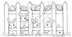 O7928 Fence With Bunnies And Eggs