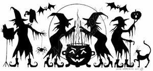 O8097 Witches Brewing Silhouette Border