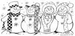 O8238 Four Snowmen With Scarf Border