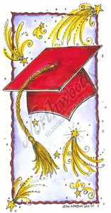 O8599 Graduation Cap And Stars In Deckle Rectangle